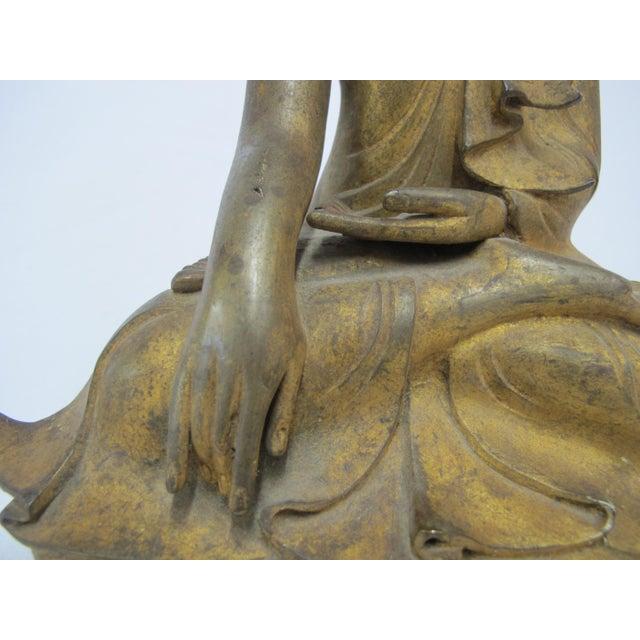 Asian Late 19th Century Antique Bronze Mandalay Sitting Buddha Figurine For Sale - Image 3 of 9