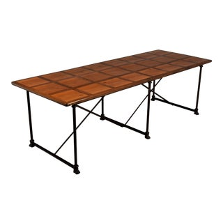 French Parquet Top Dining Table For Sale