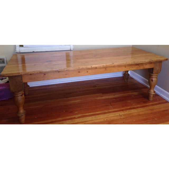 Large Reclaimed Wood Farm Table - Image 2 of 8