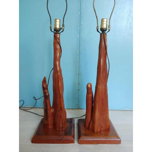 1950s Mid-Century Old Florida Cypress Knee Lamps - a Pair For Sale - Image 5 of 11