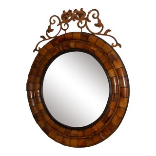 Bamboo and Metal Round Wall Mirror