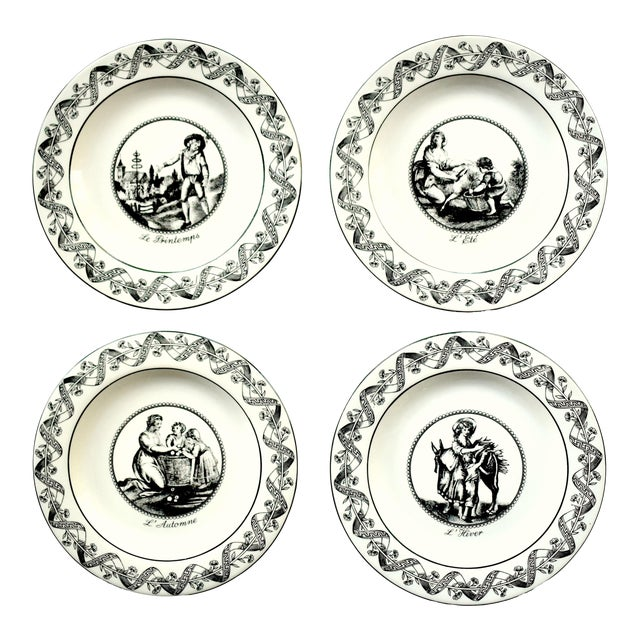 Four (4) Vintage Italian Mottahedeh 18th-Century Creil Creamware Neoclassical Seasons of the Year Small Plates - Set of 4 For Sale