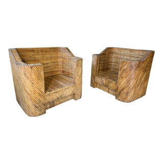 1960s Split Reed Bamboo Club Chairs in the Manner of Gabriella Crespi - a Pair For Sale