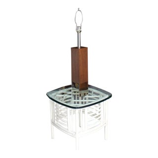 Walnut Cube Shape Table Lamp on Chrome Base For Sale