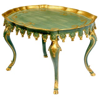 Italian Green and Parcel-Gilt Carved Tassels Tea Height Table For Sale