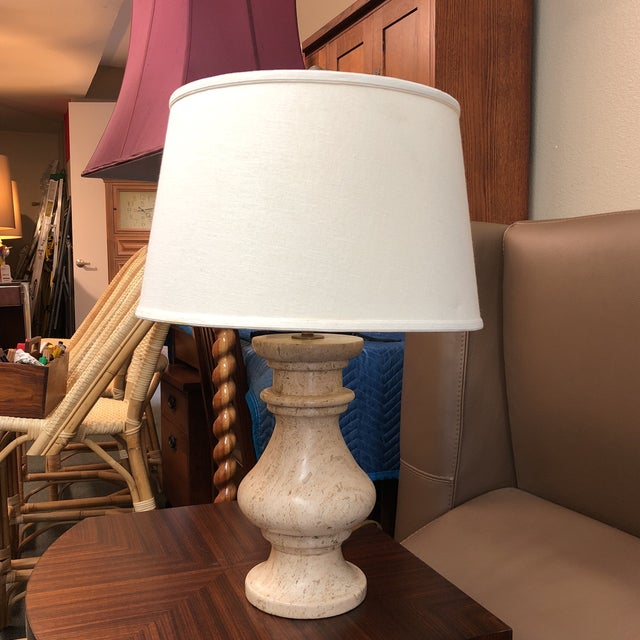 Travertine Table Lamp With Shade For Sale - Image 9 of 9