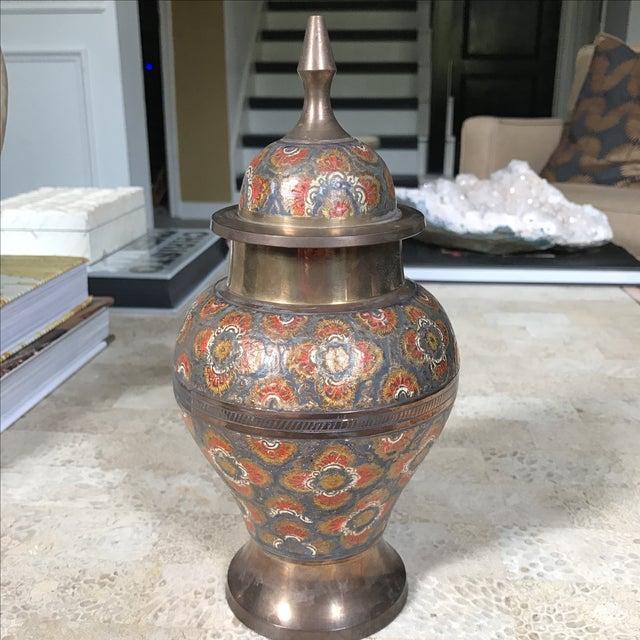 Vintage Brass Enameled Urn - Image 2 of 3