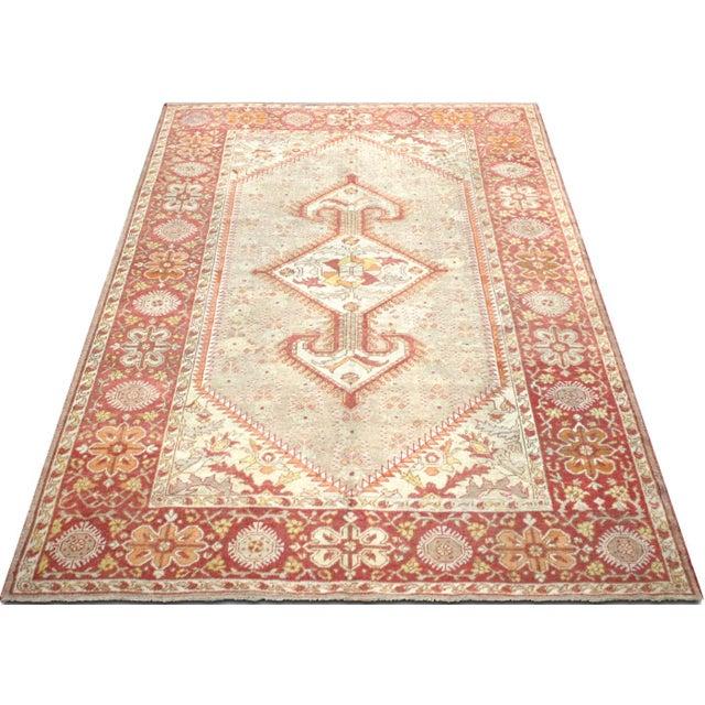 "1920s 1920s Turkish Oushak Carpet - 8'3"" X 12'7"" For Sale - Image 5 of 7"