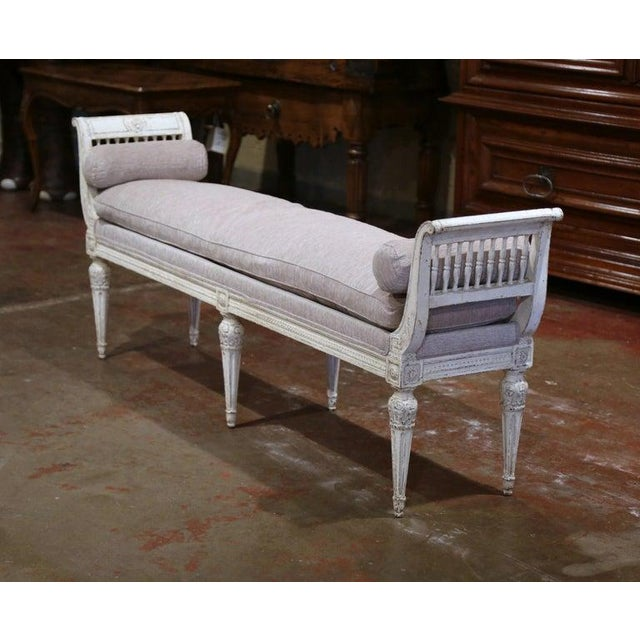 Place this elegant antique six-leg bench at the foot of a king size bed or in your living room for extra, versatile...