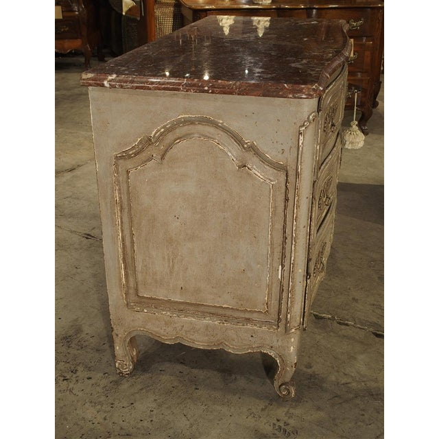 Marble Antique Louis XV Style Painted French Chest of Drawers with Marble Top For Sale - Image 7 of 10