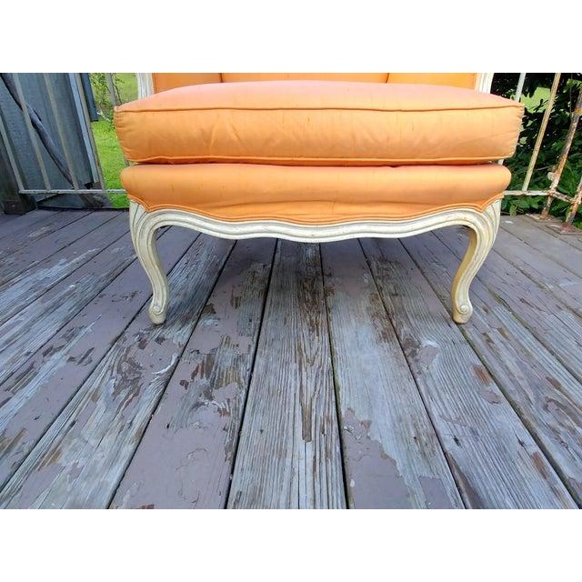 1950s Henredon White Frame Orange Upholstery Louis XV Down Fill Bergere Chair For Sale - Image 5 of 13