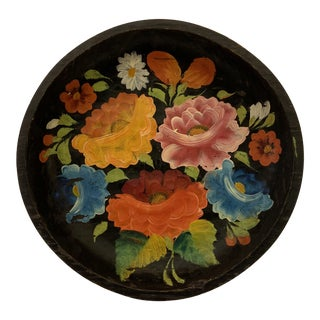 20th Century Mexican Hand Painted Low Bowl Batea For Sale