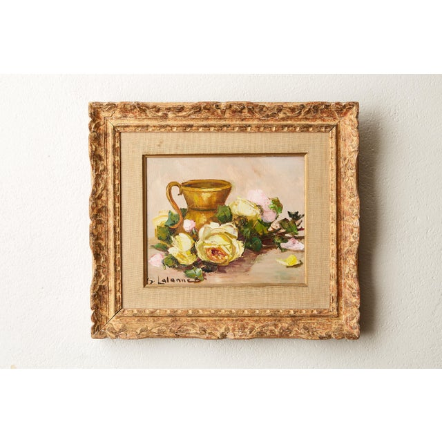 Vintage French Still Life of Roses by Simone Lalanne Bascle, Circa 1940s For Sale - Image 9 of 9