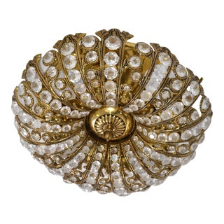 Mid-Century Modern Round Brass & Crystal Flush Mount, Ceiling Light Fixture 1965 For Sale