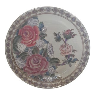 Vintage Chinoiserie Floral Pearlescent Lustreware Hand Painted Decorative Plate For Sale