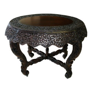 19th Century Intricately Carved Anglo-Indian Center Table For Sale