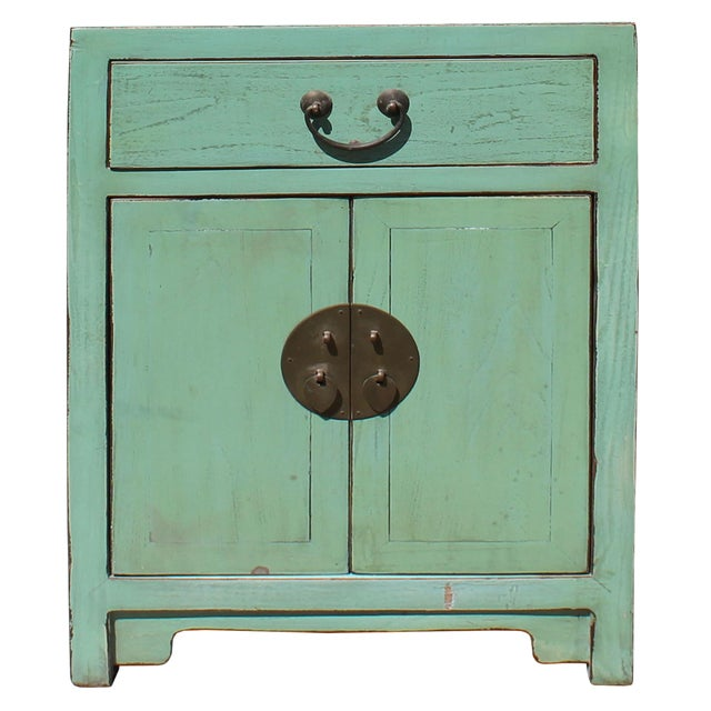 Oriental Distressed Light Teal Green Lacquer Side End Table Nightstand For Sale