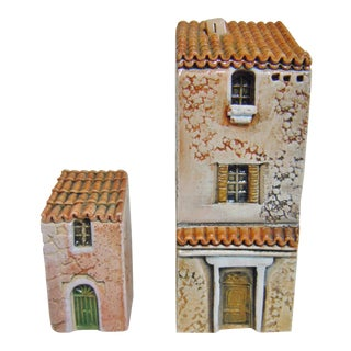 Late 20th Century Gault French Miniature Buildings - 2 Pieces For Sale