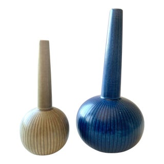 """1900s """"Ritzi"""" Gunnar Nylund Stoneware Vases - Set of 2 For Sale"""