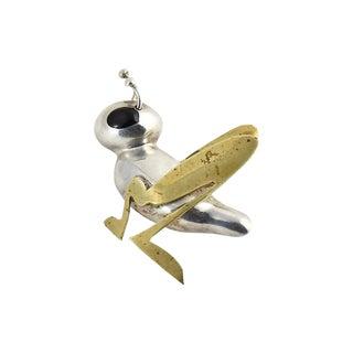 20th Century Contemporary Sterling & Brass Grasshopper Brooch For Sale