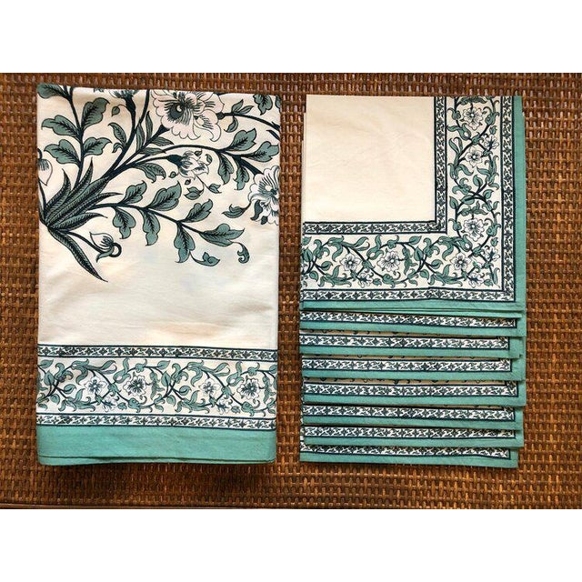 "Early 21st Century Brigitte Singh ""Gustav Peony"" Hand Block Printed Tablecloth and Napkins - Set of 9 For Sale - Image 5 of 5"