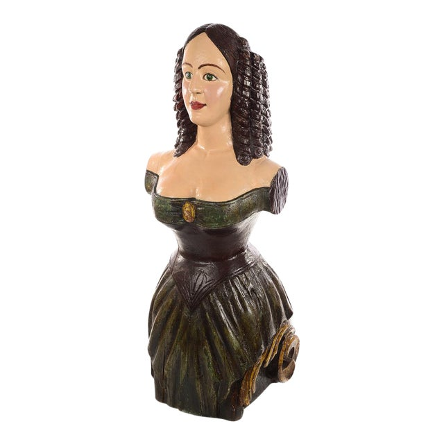 Antique Carved Wood & Painted Ship Figurehead of a Maiden For Sale