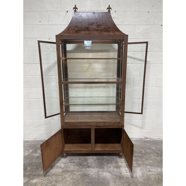Pagoda Style Rustic Glass Metal Display Case For Sale - Image 4 of 13