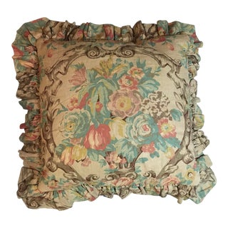 French Inspired Floral Linen Pillow For Sale