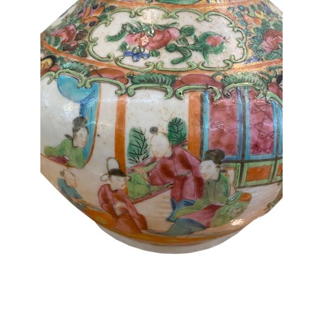 19th Century Antique Rose Medallion Bottle Lidded Vase For Sale - Image 5 of 6