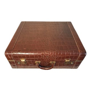 Vintage Mock Crocodile Leather Suitcase For Sale