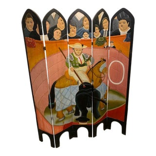Fernando Botero Style Hand Painted Carved Wood Room Divider Screen For Sale