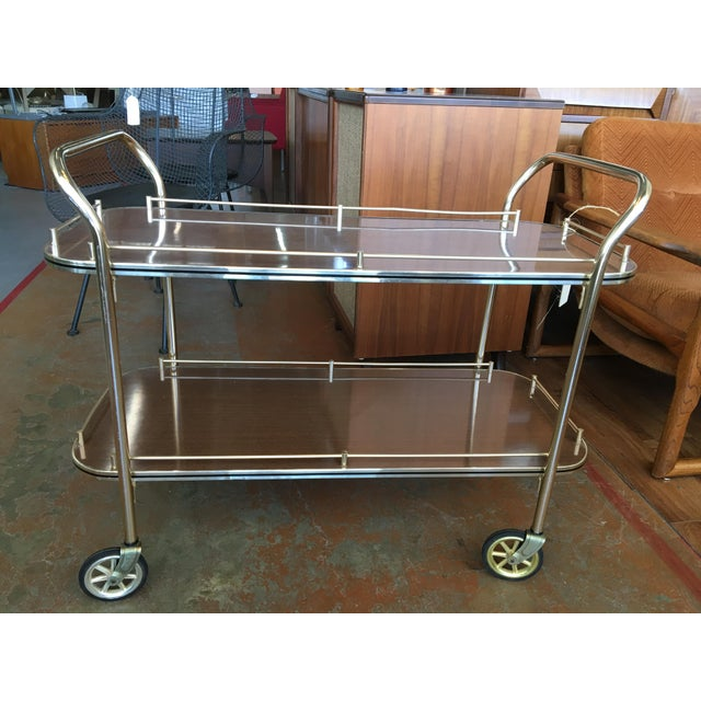 English Brass Bar Cart For Sale - Image 11 of 11