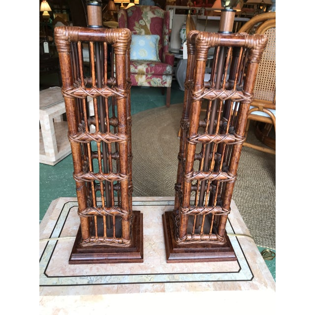 Island Style Coastal Regency Rattan Lamps-A Pair For Sale - Image 6 of 9