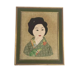Mid Century Asian Portrait Textile Art Hand Stitched Chinoiserie Wall Art For Sale