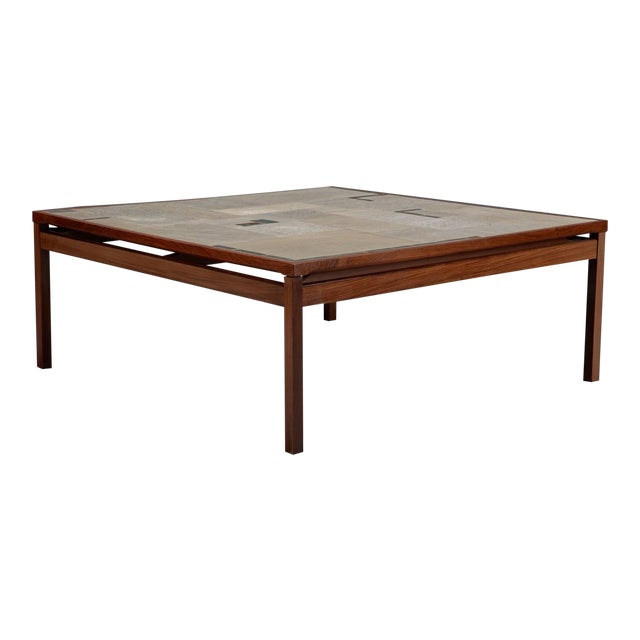 Large Danish Modern Mid-Century Rosewood and Tile Coffee Table For Sale