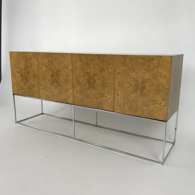 Olive Burl Credenza With Chrome Base Designed by Milo Baughman for Thayer Coggin For Sale - Image 11 of 13
