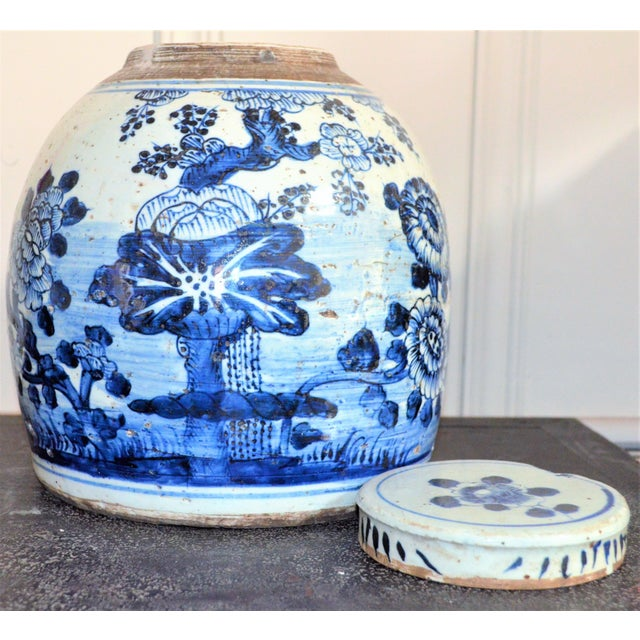 Chinoiserie White & Blue Floral Ginger Jar For Sale In Houston - Image 6 of 7