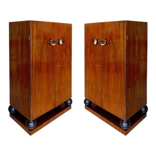 Rosewood Art Deco Cabinets with Horn Door Knobs and Ebonized Turned Supports - A Pair For Sale