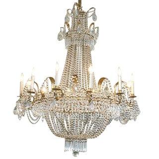 19th Century Italian Empire Crystal Chandelier For Sale