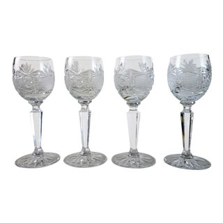 Crystal Cut Glass Liqueur Glasses - Set of 4 For Sale