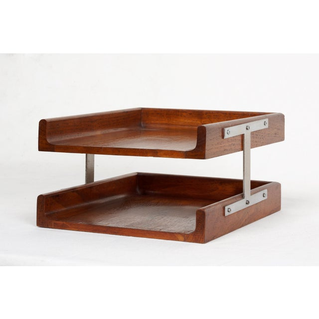 1960s Two-Tier Walnut Paper Tray For Sale - Image 4 of 7
