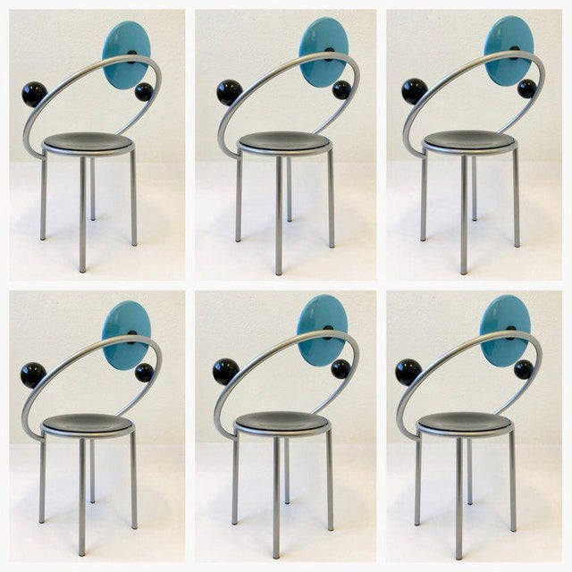 Michele De Lucchi Set of Six Italian Memphis Dining Chairs by Michele De Lucchi For Sale - Image 4 of 11