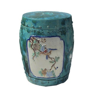 Turquoise Chinese Oriental Round Ceramic Stool