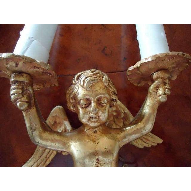 19th Century Vintage Bronze Doré Putti Two-Arm Sconces- A Pair For Sale - Image 4 of 4