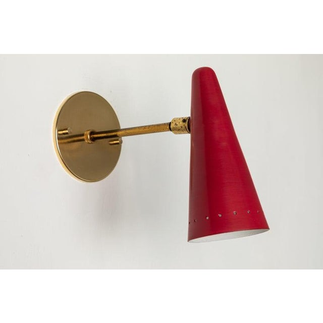 1960s Stilux Articulating Red Cone Sconces For Sale - Image 9 of 13