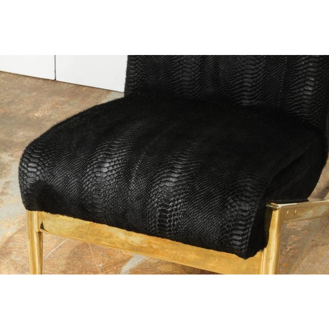 Paul Marra Slipper Chair in Brass with Laser Cut Cowhide Python For Sale - Image 9 of 9