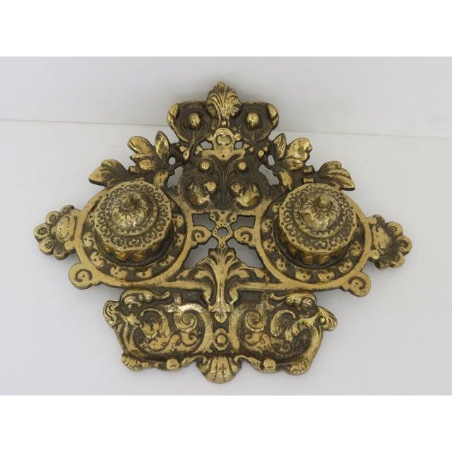 Hollywood Regency Vintage Brass Inkwell For Sale - Image 3 of 5