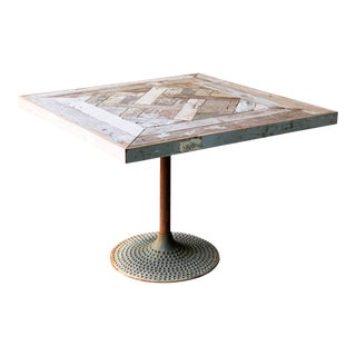 Reclaimed Wood Inlaid Pedestal Table For Sale