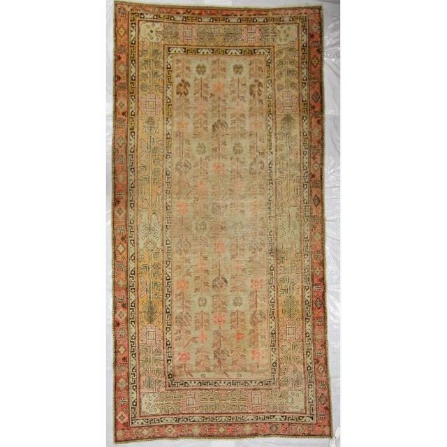 1910s Antique East Turkistan Samarkand Rug - 5′1″ × 12′6″ For Sale - Image 5 of 5