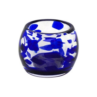 Blue Murano Art Glass Bowl Signed by Salviati For Sale